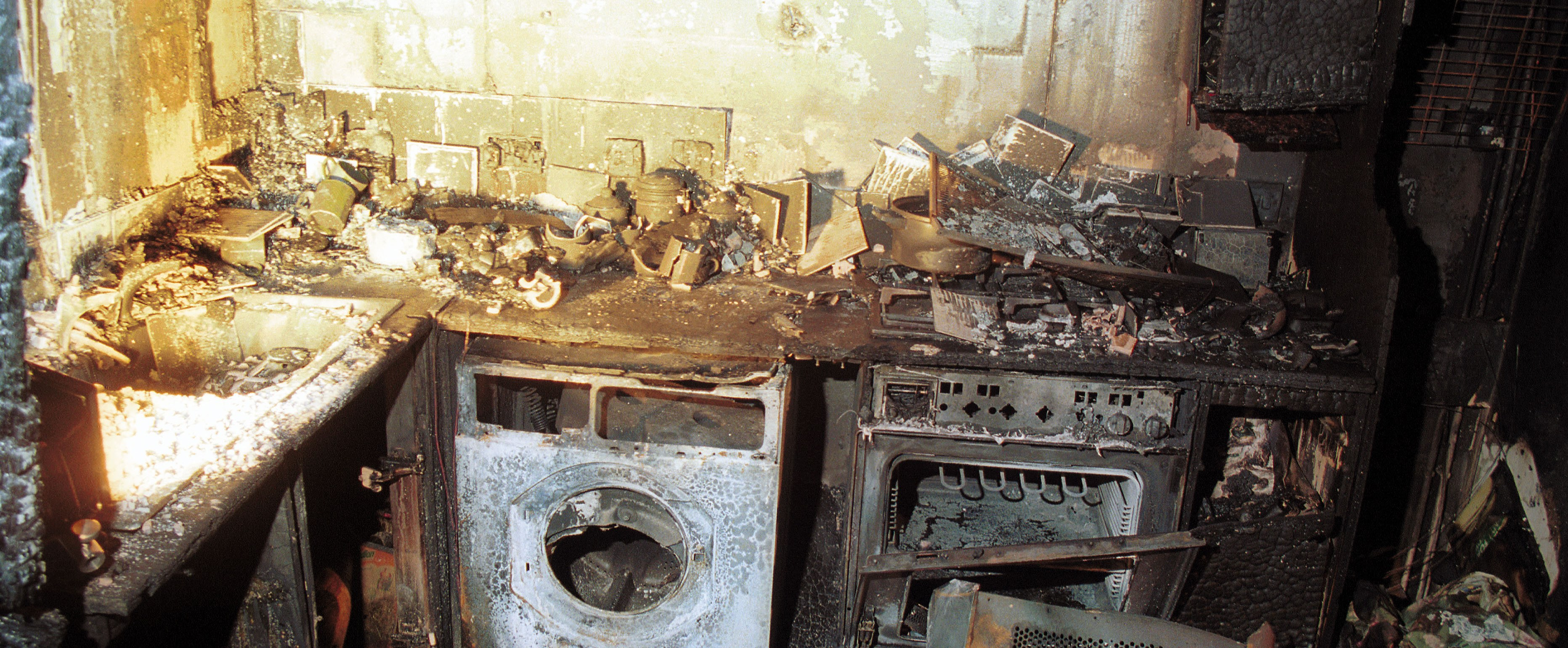 Image of a kitchen damaged by fire