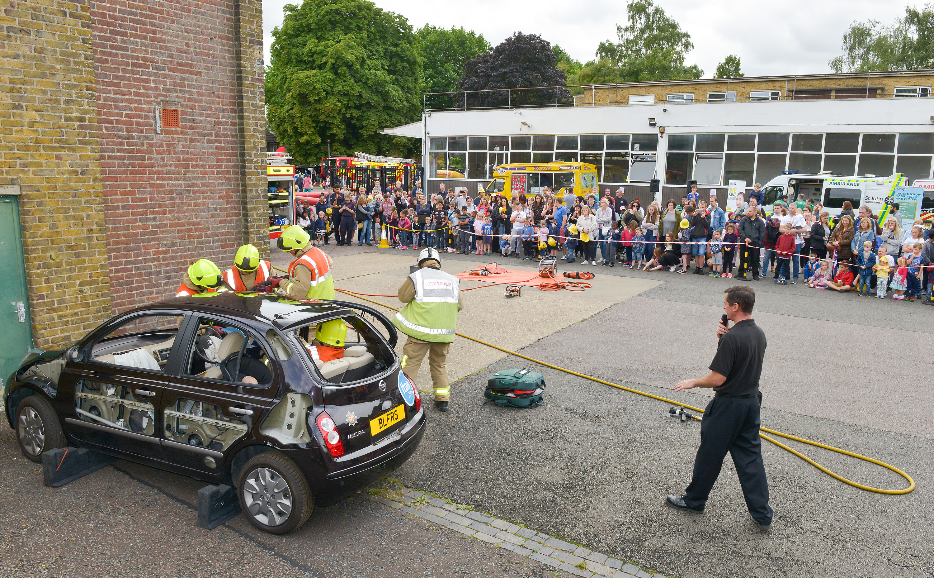 A demonstration of how we free casualties from a vehicle taking place during Luton Community Fire Station's Open Day in 2017