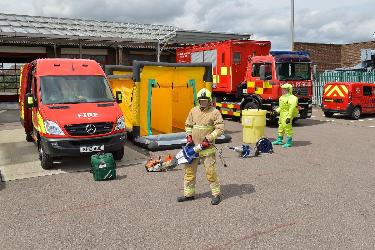 Stopsley Fire Fighters show their hazardous materials equipment
